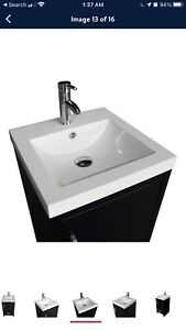 WONLINE 18 inch Vanity Bathroom Sink Modern Cabinet Sink - Black.  New in Box