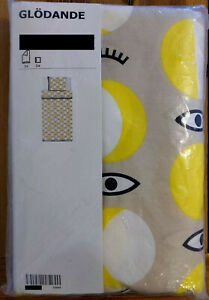 IKEA Glodande Yellow Tan Eyeballs Twin Size Duvet Pillowcase Bedding Set Limited