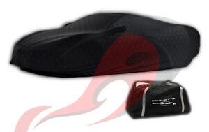 2020 2021 C8 Corvette Black Indoor Car Cover Embossed Flag Logos 84865965