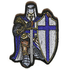 Embroidered Blue Crusader Knight Christian Sew or Iron on Patch Biker Patch