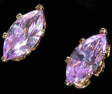 Marquise LAVENDER ICE CZ Cubic Zirconia STUD EARRINGS 14K Gold Plated