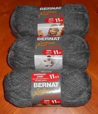 Bernat Softee Chunky Yarn Lot Of 3 Skeins (True Grey #28044)