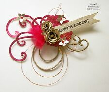 3D RUBY WEDDING ANNIVERSARY CARD CRAFT TOPPER, EMBELLISHMENT  WED-R