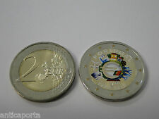2 EURO COLORATA DIPINTA MANO PORTOGALLO 2012 UME UNIONE MONETARIA DECENNALE