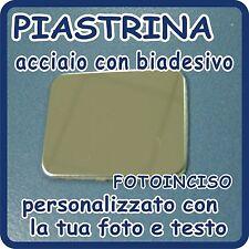 PIASTRINA ACCIAIO CROMATO personalizzato con FOTOINCISIONE