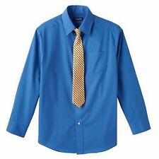 New CHAPS Boy's Shirt Size 4 Dress Shirt & Tie Set Long Sleeve Blue Kid