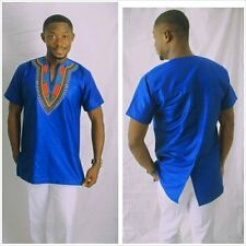 Blue Men's Dashiki Short Sleeve Shirt African Clothing Men's Wear
