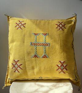 "morrocan Berber Pillo Cactus Mustard Yellow Silk Cushion Cover 24x24"""