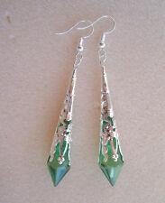 Pretty Dark Green Faceted Teardrop Silver Filigree Drop Earrings in Gift Bag