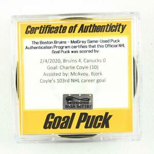 2019-20 Charlie Coyle Boston Bruins Game-Used Goal-Scored Puck -McAvoy Assist