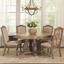 ILYANA 5PC FORMAL ROUND PEDESTAL CARVED PINE WOOD ANTIQUE LINEN DINING TABLE SET