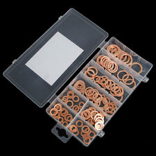 120Pc 8 Sizes Assorted Solid Copper Crush Washers Seal Flat Ring Set With Box