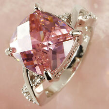 Women Jewelry 925 Silver Ring Pink Sapphire Wedding Party Size Set Sz 6-10