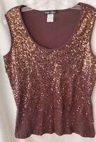 Women's  Embellished Sequin Tank Top sz XXL by ONLY NINE  Brown Cotton rib KNIT