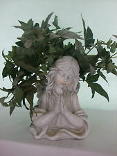 Angel Praying Plant Holder- Garden Ornament- Memorial Figarine- Stone Effect