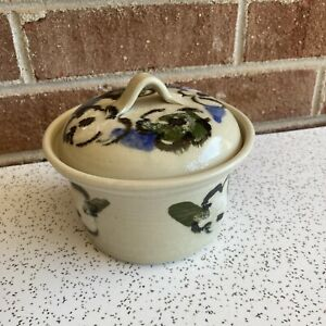 VTG Handmade Stoneware Small Soup Crock For Two Floral Design, EUC
