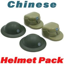 LEGO WWII Chinese Helmet + Cap Printed 4 Pack Soviet Army Soldier Military Lot