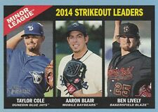 2015 TOPPS HERITAGE MINOR LEAGUE STRIKEOUT LEADERS COLE-BLAIR-LIVELY #195 BLUE