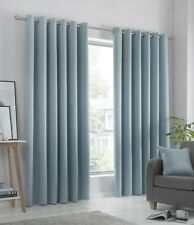 """Fusion """"Strata"""" DimOut/Block Out Semi-Plain Fully Lined Eyelet Curtains Duck Egg"""