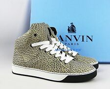 LANVIN BLACK BEIGE SIZE 9&10LEATHER RUBBER SOLE SHOES SNEAKERS ITALY # 6 NEW BOX
