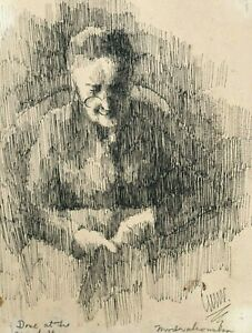Old Woman with Glasses Ink Drawing-1895- Eleanor Modrakowska-(1879-1955)