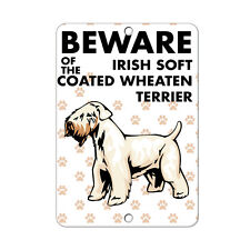Beware of Irish Soft Coated Wheaten Terrier Dog Metal Sign - 8 In x 12 In