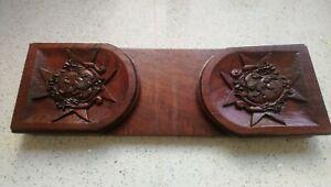 Vintage Maltese Cross & Rampant Lion Carved Wood Folding Bookends, Shelf, Rack