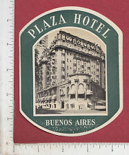 9813 Plaza Hotel luggage label sticker Buenos Aires Argentina South America