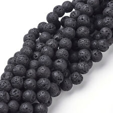 25 Strds 8mm Natural Lava Beads Black Round Gemstone Beads Rock Beading 15.4""