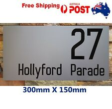 House Number Plaque Custom Street Number 30 X15CM Black On Silver/ white vinyl