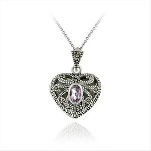 "925 Silver Amethyst & Marcasite Heart Locket Necklace, 18"""