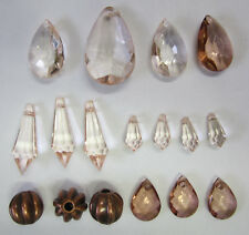 18 Acrylic Prism & Faux Bail Bead Mix, Teardrop Beads Bails Copper & Nude TAR016