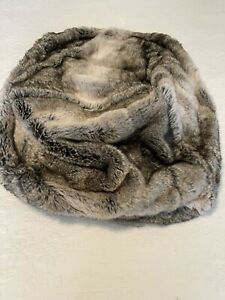 Pottery Barn Ombre Fur Pouf Cover Gray NWOT Tags Dorm/Kids Room