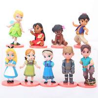9 Disney Princess Moana Tinkerbell PVC Doll Cake Topper Decor Kids Playset Toy