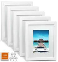 """CAVEPOP 8x10"""" Mat 5x7"""" Picture Frame 5 Pieces Set- White"""