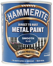 Hammerite Paint Smooth or Hammered 250ml or 750ml Black White Silver Red Blue