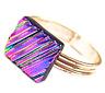 "Ring Adjustable Dichroic Glass Pink Purple Magenta Ripple Wavy Texture Tiny 1/4"""