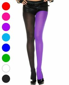 Two Tone Opaque Jester Tights Pantyhose - Music Legs 748