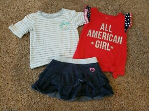 Toddler girl Outfit Size 24 Months/2T, Fourth Of July Outfit, Denim Skirt