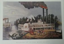 Wooding Up on the Mississippi By Currier & Ives