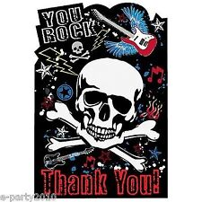 PARTY ROCK THANK YOU NOTES (8) Birthday Supplies Stationery Cards Guitar Skull