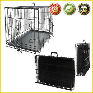EXTRA LARGE DOG CRATE KENNEL Huge Folding Giant Pet 2-Door Steel Wire Cage Sizes