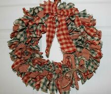 Christmas red and green homespun check primitive Rag Wreath Candy Cane Accents