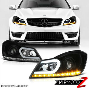 LED STRIP Black Projector Headlamps Headlights L+R For 12-14 W204 M-Benz C-Class