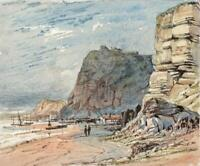 FISHERMAN'S QUARTER HASTINGS SUSSEX Small Watercolour Painting 19TH CENTURY