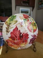 "Pier 1 8.5"" Salad/Dessert Plate in Wildwood Leaves Pattern"