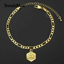 Anklet Stainless Steel Hex Alphabet Ankle 5mm Girls Figaro Chain Initial Charm