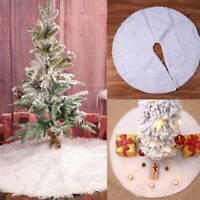 80cm Decor Luxury White Fur Christmas Tree Skirt Festive Home Xmas Snowflake UK