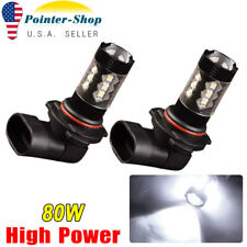 2x Super Bright White LED 9006 HB4 High Power 80W Fog Light Driving Bulbs black