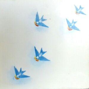 "Vintage Hand-Painted BLUEBIRD BLUE BIRDS CERAMIC TILE TRIVET 6"" Square AETCO."